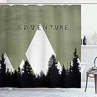 シャワーカーテンアドベンチャーバスカーテン、ハーフトーン効果のある森山でキャンプするヒップスタータイポグラフィ、フック付きポリエステルカーテン、アーミーグリーンのバスルームの装飾 180X180 CM