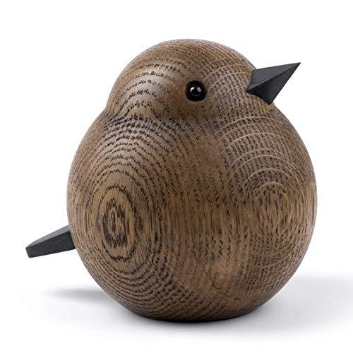 Novoform Design - Papa Sparrow - Dekofigur, Holzfigur - Spatz - Eichenholz, gebeizt - Maße (LxBxH): 11,5 x 9,3 x 10 cm