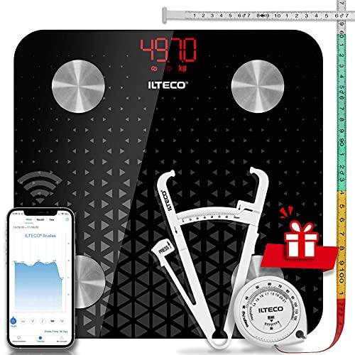 ILTECO Báscula de Baño Grasa Corporal y Muscular Inteligente, Báscula de precisión digital con Tecnología Bluetooth, APP 13 análisis (IMC, Peso Óseo, Masa, Agua etc) conexión Android e iOS | Negro