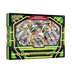 Includes a never-before-seen foil promo card featuring Shiny Rayquaza-EX! Comes with a Shiny Legendary Pokémon as a special oversize card Also includes 4 Pokémon TCG booster packs Comes with a code card for the Pokémon Trading Card Game Online
