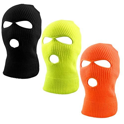 WXJ13 3 Colors 3-Hole Full Face Cover Soft Winter Balaclava Warm Knit Ski Mask, Men Women Outdoor Sports Knit Full Face Mask
