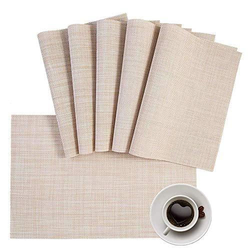 AMAZING1 Dolopl - Manteles individuales (PVC, 4 manteles individuales, antideslizantes, lavables, resistentes al calor, color beige