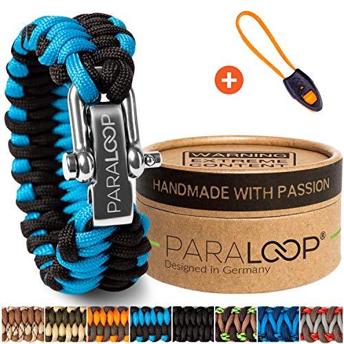 PARALOOP ORIGINAL Paracord Armband für Männer + Anhänger mit Signalpfeife in Handarbeit geflochten mit Geschenkbox Verschluss aus Edelstahl Armbänder Herren Blau Schwarz