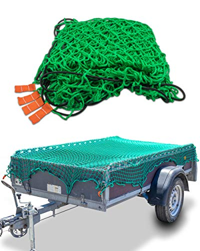 CargoVA® Anhängernetz 2x3M - Hängernetz mit Gummiseil und Eckenmarkierung - zur perfekten Ladungssicherung