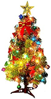"""18""""Christmas Tree for Kids to Decorate 18-inch Mini Christmas Tree with 3M 40 LED Lights Artificial Tinsel Christmas Decorations Tree with Ornaments and Stands for Party Home Decor (45 cm, 18 inches)"""