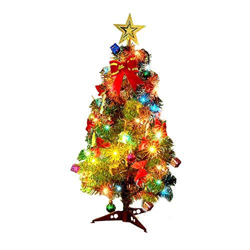 Chuck & Blair - Albero di Natale artificiale a LED, 60 cm (24 in) con pignone, piccolo nastro di Babbo Natale, mela stella ornamenti stringa luce da tavolo