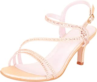 Cambridge Select Women`s Strappy Crystal Rhinestone Mid Heel Dress Sandal