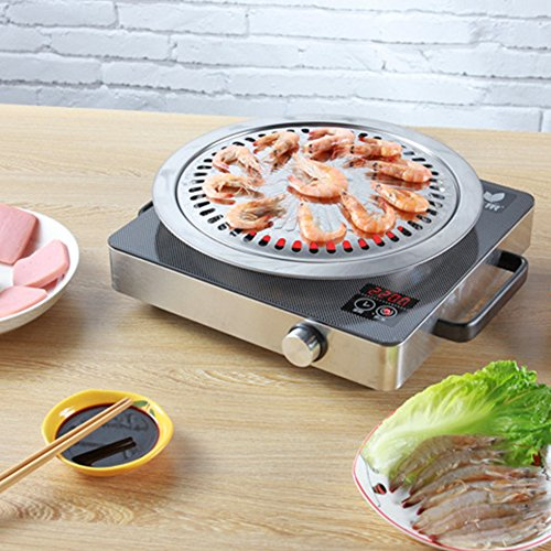BBQ Plate,korean Style Stovetop,Smokeless Indoor Stainless Steel Non-stick Roasting Round Barbecue Grill Pan For Indoor Outdoor Camping BBQ, Cooking Delicious Roasting Food