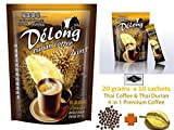 De'Long ( Delong ) 4 in 1 Premium Durian Coffee - Real Durian and Best Coffee from Thailand (20 grams x 10 sachets) Aroma Thai taste