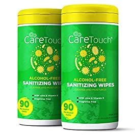 Care Touch Alcohol-Free Hand Sanitizing Wipes – 2 Canisters – 180 Moisturizing Wipes with Vitamin-E and Aloe Vera