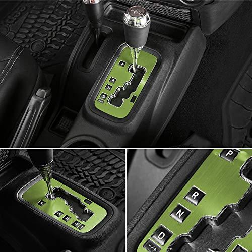 E-cowlboy Trim Gear Frame Cover Gear Shift Box Abdeckung für Jeep Wrangler 2012~2018 Aluminium Innenzubehör passgenau – Allwetterschutz (grün)