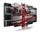 DekoArte 277 - Cuadros Modernos Impresión de Imagen Artística Digitalizada | Lienzo Decorativo Para Tu Salón o Dormitorio | Estilo Ciudades EEUU Golden Gate Blanco Negro Rojo | 5 Piezas 150 x 80 cm