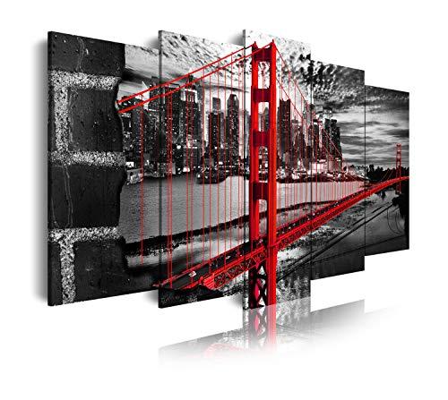 DekoArte 277 - Quadri moderni Stampa di Immagini Artistica Digitalizzata | Tela Decorativa Per Soggiorno o Stanza da letto | Stile Città EEUU Golden Gate Bianco Nero Rosso | 5 Pezzi 150 x 80 cm