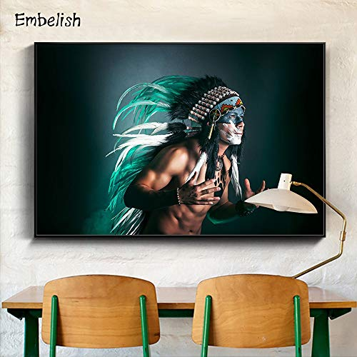 KWzEQ Imprimir en Lienzo Decoración de hogar de Pared de Hombre Indio para póster de Sala de estar80x105cmPintura sin Marco