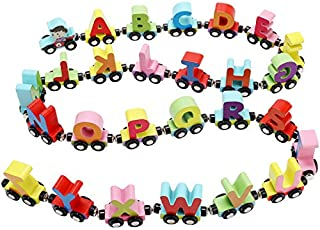 QUOXO Wooden Trackless Trains Set, Alphabets Numbers Magnetic Train Cars for Children Early Educational (Letter Train)