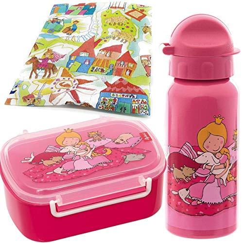 Sigikid Brotdose und Trinkflasche Pinky Queeny Hund Schulanfang Kindergarten Brotzeitbox mit Trennwand Mädchen pink/rosa