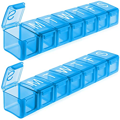 Extra Large Weekly Pill Organizer, BPA Free Pill Box 7 Day with XL Compartment for Fish Oils, Travel Friendly Medicine Organizer Pill Case for Vitamins,Supplements (2 Pack, Blue)