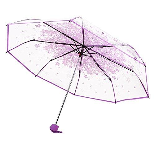 LAAT Foldabe Umbrella Romantische Kirschregen Transparente Regenschirm Winddichte Regenschirm für Damen und Mädchen