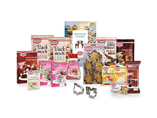 """Dr. Oetker Back-Set """"Alles für die Weihnachtsbäckerei"""", zum Kekse Backen und Dekorieren weiterer Backkreationen für Weihnachten, 15-teilig inklusive Streusel, Ausstecher und Rezeptheft"""