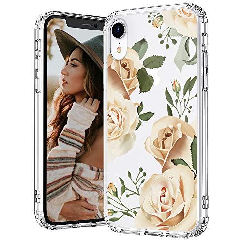 MOSNOVO iPhone XR Hülle, Champagner Rosen Blühen Blumen Muster TPU Bumper mit Hart Plastik Hülle Durchsichtig Schutzhülle Transparent für iPhone XR (Champagne Roses)