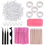 Eyelash Extension Kit 410Pcs, including Stainless Steel Precision Tweezers Set, Disposable Eyelash Mascara Brush Wand, Cotton Swabs 200Pcs, Cup Rings 100Pcs, Tapes, Eyelash Holder Pad