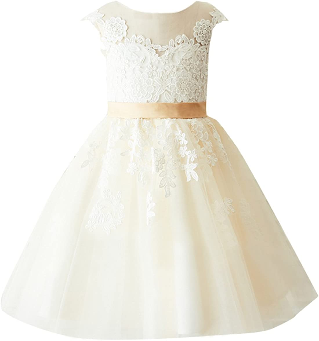 flowerry Max 66% OFF Light Champagne 2021 new Flower Girl Special Lace Occasion Dress