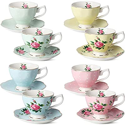 BTaT- Floral Tea Cups and Saucers, Set of 8 (8 oz) Multi-color with Gold Trim and Gift Box, Coffee Cups, Floral Tea Cup Set, British Tea Cups, Porcelain Tea Set, Tea Sets for Women, Latte Cups