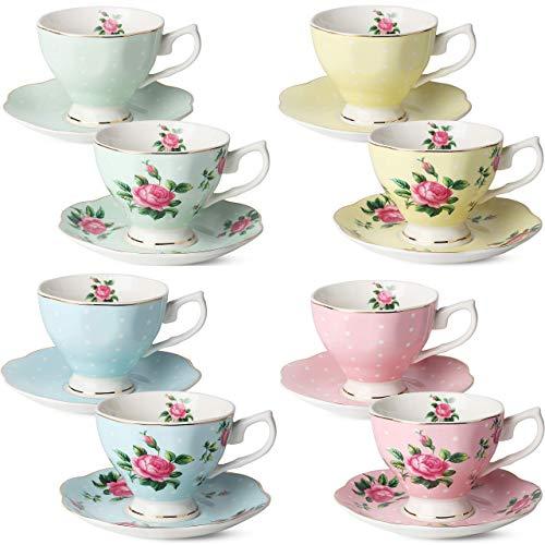 BTaT- Floral Tea Cups and Saucers, Set of 8 (8 oz) Multi-color with Gold Trim and Gift Box, Coffee Cups, Floral Tea Cup Set, British Tea Cups, Porcelain Tea Set, Tea Sets for Women, Latte Cups