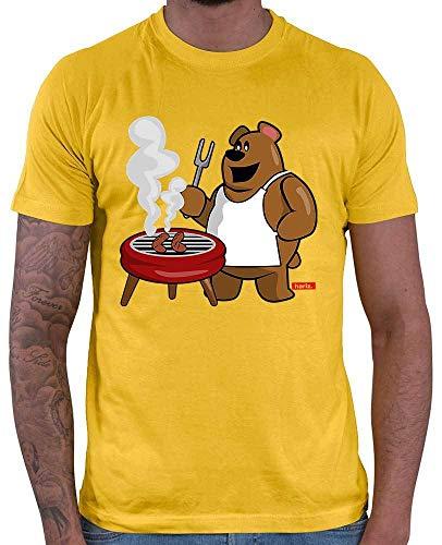 Camiseta para hombre con diseño de oso en barbacoa de Hariz, con tarjeta de regalo dorado amarillo XS