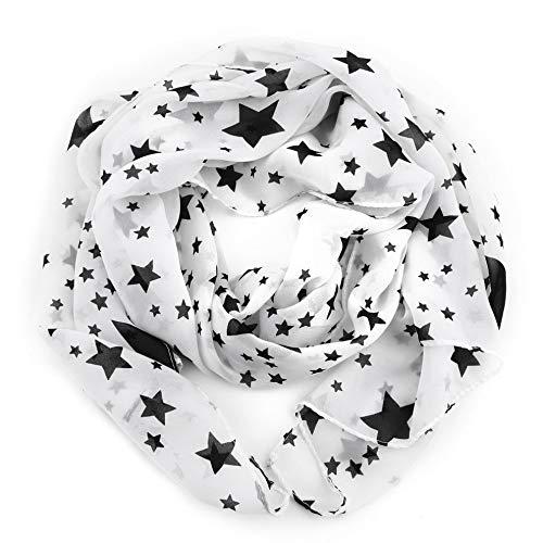 QiKun-Home Mujeres Invierno Necesidad Negro Blanco Estrellas Bufanda Bufanda de Gasa Gran mantón Suave Cómodo Señora Blanco