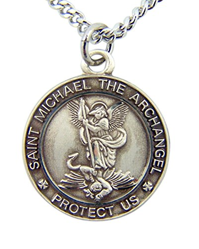 Sterling Silver Saint Michael The Archangel Protect Us Round Medal Pendant, 3/4 Inch