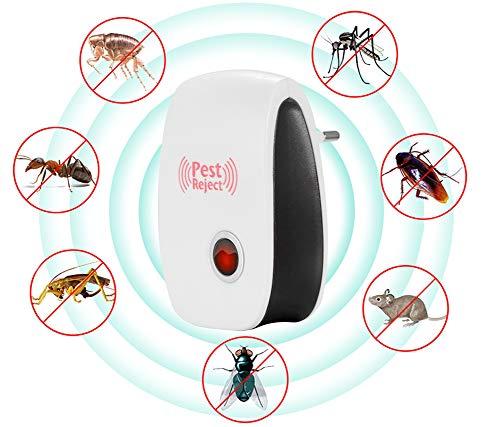 KangHan Repelente De Mosquitos Electrónico 4Pcs, Control De Roedores Asesino De Insectos De Mosquito Cucaracha De Interior Repelente De Plagas Ultrasónico