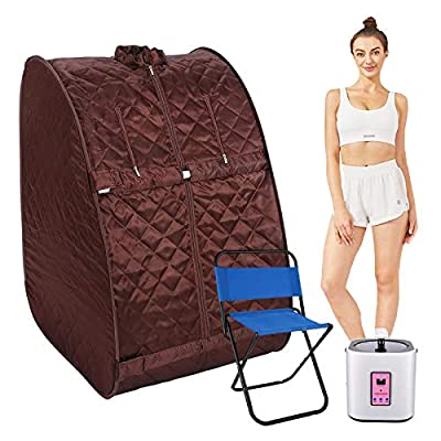 casulo 2L Portable Steam Sauna Personal Foldable Home Sauna Spa with 60 Minute Timer, 800 Watt Steam Generator, Chair Inlcuded, for Weight Loss, Detox, Relaxation
