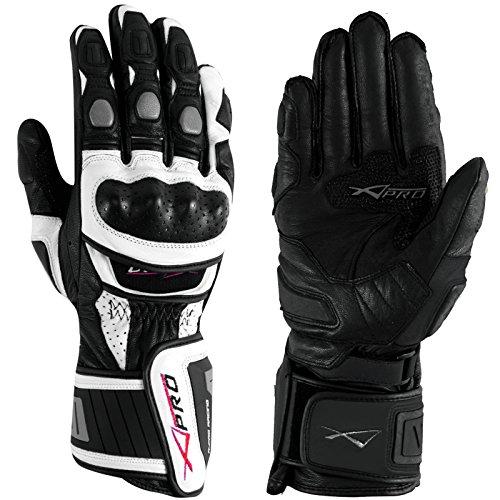 A-Pro Motorradhandschuher Motorrad hochwertige Handschuhe Leder Silber L