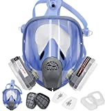 BHTOP Full Reusable Respirator for Gas,Full Facepiece Twin Filter Respirator for Painting, Machine Polishing, Woodworking, Welding, Decoration Work, and Other Work Protection Large Size