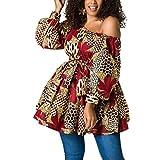 Rebecca Giovacker Women's Sexy One Shoulder Oblique Neck Short Dresses African Floral Print Dress Red