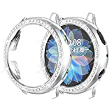 Landhoo Protective and Compatible for Samsung Galaxy active2 40mm,Sparkling Crystal Rhinestone safes with PC Protection face Cover Woman Girl Sparkling Diamond Gilt case Edition smartwatch (Slive)