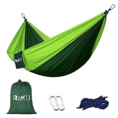Double Camping Hammock - Portable Lightweight Parachute Nylon Fabric Hammock With Ropes Carabiners Included - Perfect For Backpacking Camping and Hiking