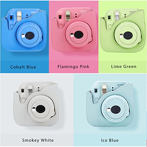 Leebotree Ice Blue Protective Case Compatible with Instax Mini 9 Mini 8 Mini 8+, Soft PU Leather Bag with Pocket and Removable Shoulder Strap(Ice Blue)
