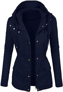 BeautyVan - Abrigo con capucha para mujer, de piel de invierno, ligero, con múltiples bolsillos, Azul oscuro, XXXL
