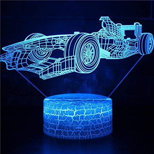 3D ilusión noche luz LED lámpara de escritorio control táctil coche carreras luces para niños táctil USB mesa Lampara bebé dormir luz movimiento