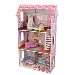 KidKraft Penelope Wooden Pretend Play House Doll Dollhouse Mansion with Furniture, Multi, (Model: 65179)