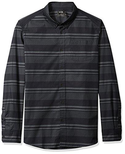 Oakley Herren LS Stripe Woven Hemd, Blackout, Klein