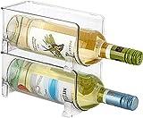 JINAMART Set of 2 Stackable Wine Storage Rack | Counter Top Wine Holder | Free Standing Organizer for Refrigerator or Kitchen Countertops (Holds 2 Bottles)