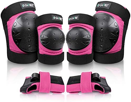 G4Free Adults Kids Bike Knee Pads Elbow Pads Wrist Guards 3 in 1 Protective Gear Sets for Skateboarding product image
