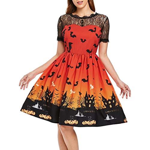 Kleider Damen,Transwen Frauen Kurzarm Halloween Retro Lace Vintage Kleid Eine Linie Kürbis Swing Dress Abend Party Prom Swing Dress Elegante Kleider (S, Orange)