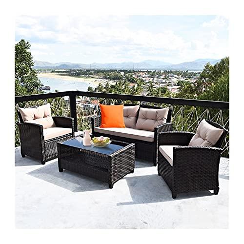 YCHUAN Set de Muebles de Patio, Conjuntos de Muebles de jardín 4 Piezas Conjunto de Muebles de ratán al Aire Libre Sofá Acolchado Mesa apoyada
