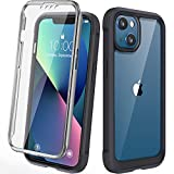Diaclara Designed for iPhone 13 Case, Full Body Rugged Case with Built-in Touch Sensitive Anti-Scratch Screen Protector, Soft TPU Bumper Case for iPhone 13 6.1' (Black and Clear)