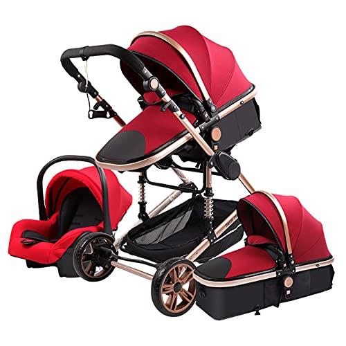 Sillas de Paseo Cochecito de Bebé 3 en 1 Triciclo Baby Walker Cochecito de Alto Paisaje Cochecitos Plegables Carrito de Bebé para Bebé 0-36 Meses (rojo)