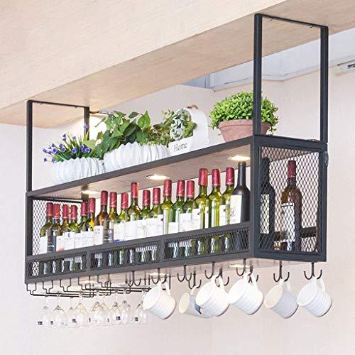 YZ-YUAN Estantes duraderos para Vino en el Techo Estantes industriales para Copas con Formato Web de 2 Niveles Organizador de Almacenamiento de Vasos de UVA de Altura Ajustable para Cocina Bar Estan